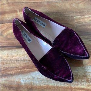 Steve Madden purple velvet Feather Loafer Flat